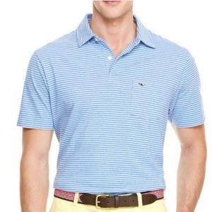 Men's Vineyard Vines Blue/White Stripe Polo Shirt